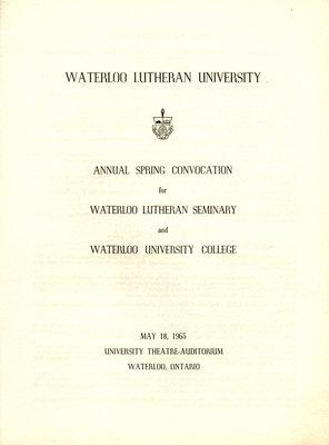 Waterloo Lutheran University spring convocation 1963 program