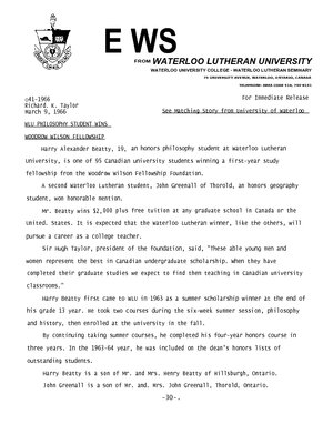 041-1966 : WLU philosophy student wins Woodrow Wilson Fellowship