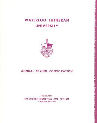 Waterloo Lutheran University spring convocation 1973 program