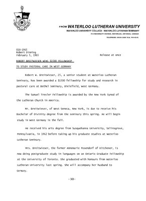 010-1965 : Robert Breitwieser wins $1500 fellowship to study pastoral care in West Germany