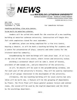 095-1968 : Teaching building, fine arts centre to be built by Waterloo Lutheran