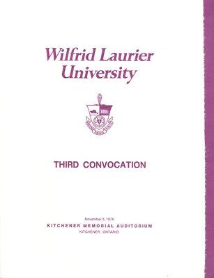 Wilfrid Laurier University fall convocation 1974 program