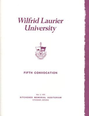 Wilfrid Laurier University fall convocation 1975 program