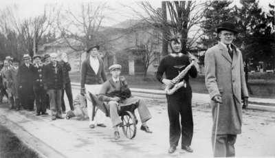 Waterloo College freshmen parade, 1930