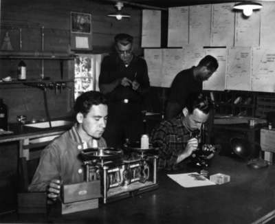 Waterloo College students using science laboratory