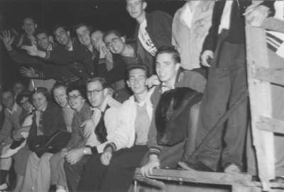 Waterloo College students on a hayride during Initiation  Week, 1955