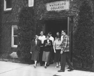 Waterloo College students exiting Willison Hall