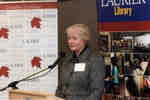Sharon Brown speaking at Wilfrid Laurier University Library donor event