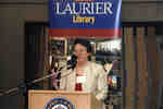Susan Horton speaking at Wilfrid Laurier University Library donor event