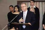Charles Morrison speaking at unveiling of medieval manuscript