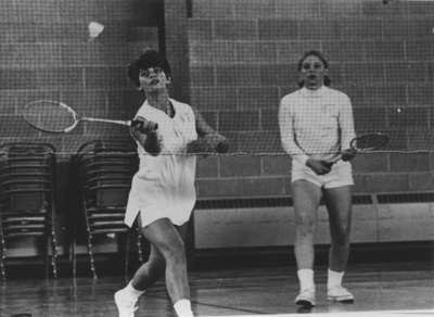 Noni Campbell and Laima Zichmanis playing badminton