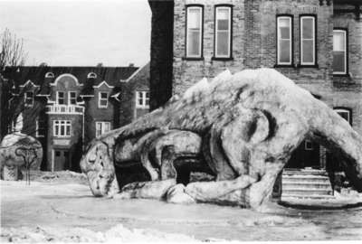 Snow sculpture in front of Conrad Hall, Waterloo Lutheran University