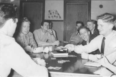 Waterloo College students playing a card game