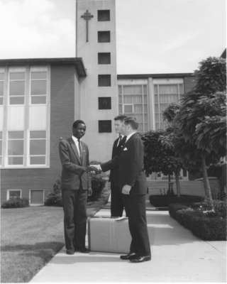 Frederick Speckeen welcomes Malachi Caleb Odenyo to Waterloo Lutheran University