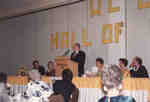 William Villaume speaking at the Wilfrid Laurier University Athletic Hall of Fame banquet, 1989
