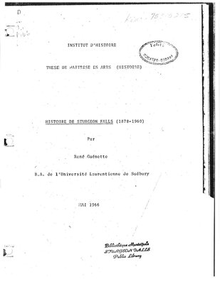 Histoire de Sturgeon Falls (1878-1960)