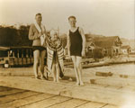 Ted Grout & Mrs. T. Grout and Andrew Reid (L to R) on Hollyburn wharf