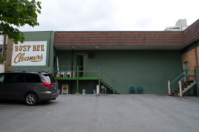 Alley View of Busy Bee Cleaners