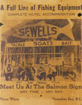 Advertisement for Sewell's Marina, fishing equipment and hotel accommodation