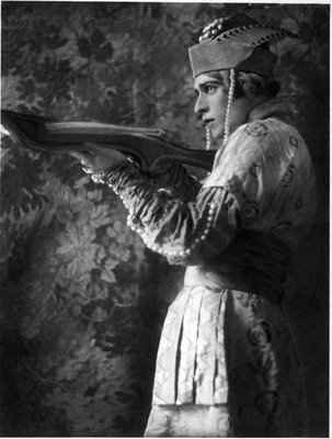 """Ballet star, Adolph Bolm depicted as Ivan Tsarevich c.1910, in the ballet adaptation of """"The Firebird"""" (L'Oiseau de Feu) composed by Igor Stravinsky."""