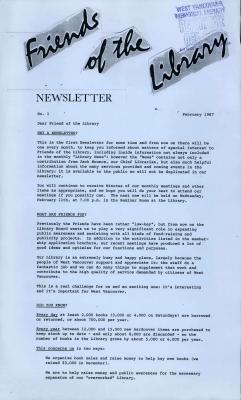 Friends of the Library Newsletter, February 1987