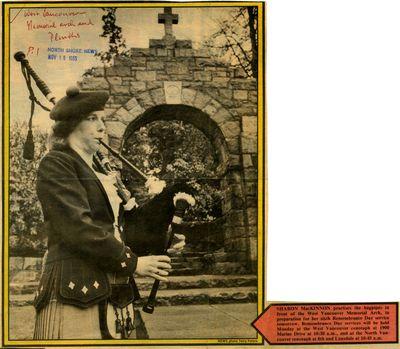 Sharon MacKinnon practises the bagpipes.