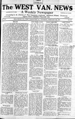 West Van. News (West Vancouver), 8 Feb 1940