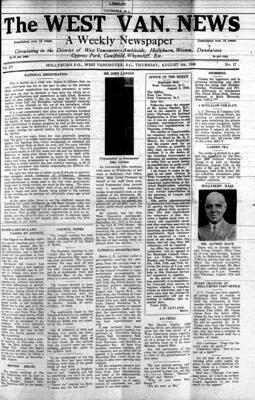 West Van. News (West Vancouver), 8 Aug 1940