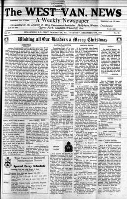 West Van. News (West Vancouver), 19 Dec 1940