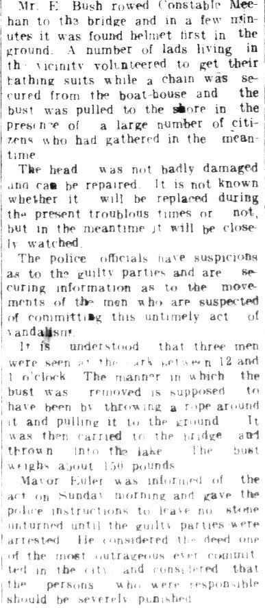 WWI Newsclippings - Kaiser Wilhelm bust thrown into Victoria Park lake, August 27, 1914