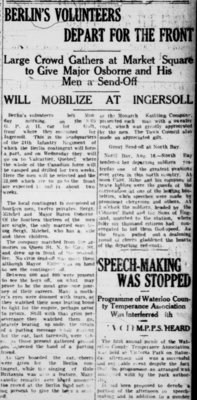WWI Newsclippings - Berlin Army Volunteers departing for the front, Waterloo Chronicle August 20, 1914 p. 3