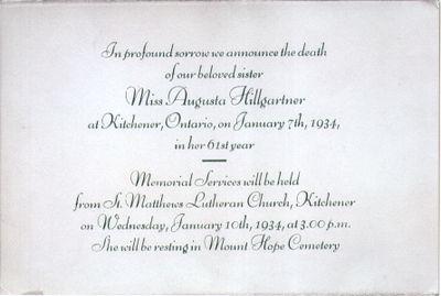 Death Notice for Augusta Hillgartner