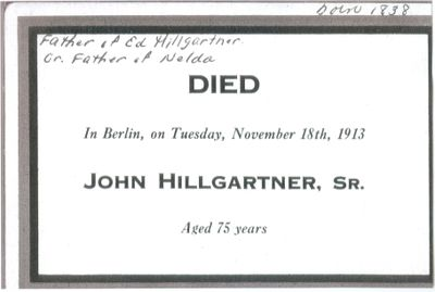 Funeral Card for John Hillgartner Sr.