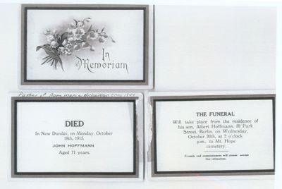 Funeral Card for John Hoffman