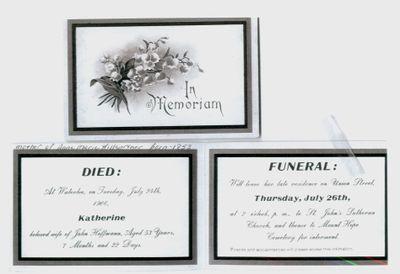 Funeral Card for Katherine Hoffmann