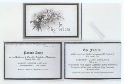 Funeral Card for Albert Joseph Hoffman