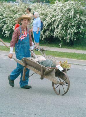 Waterloo's 150th Anniversary Parade, Farmer and Wheelbarrow