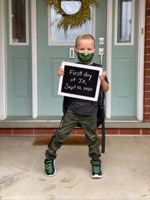 Child Wearing Face Mask for First Day of Junior Kindergarten