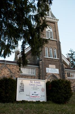 """St. Louis Roman Catholic Church """"All Masses Cancelled"""" Signs, Waterloo"""