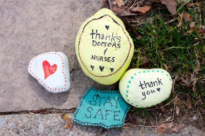 """Thanks Doctors and Nurses"" Painted Rocks"