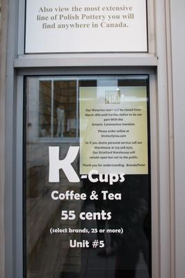 Distinctly Tea Closed Sign, Waterloo