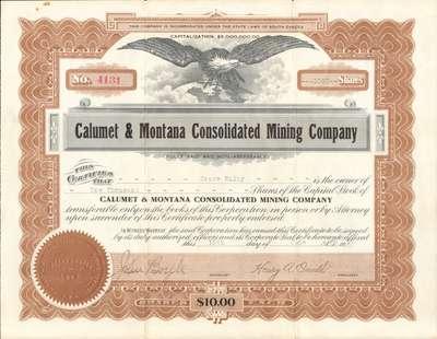 Calumet & Montana Consolidated Mining Company, South Dakota stock certificate