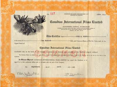 Canadian International Films Limited stock certificate