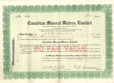 Canadian Mineral Waters, Limited stock certificate