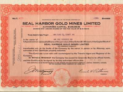 Seal Harbor Gold Mines Limited stock certificate