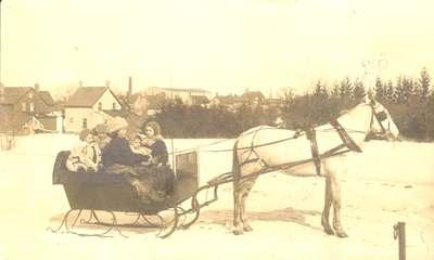 Bruegeman Family in Horse-Drawn Sleigh
