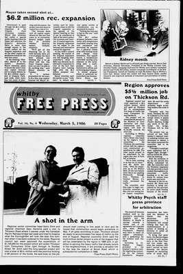 Whitby Free Press, 5 Mar 1986