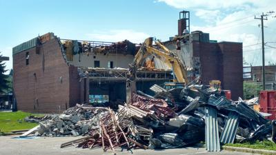 Demolition of the old Whitby Main Fire Hall, 2019