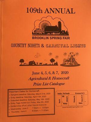 Brooklin Spring Fair Prize List, June 4-7, 2020
