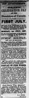 Dominion Day Celebration advertisement, 20 June 1867